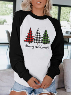 Merry and Bright Plaid Trees Sweatshirt