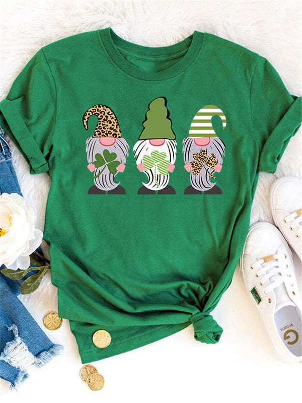 Leopard Stripped Gnomies Printed Green Tee