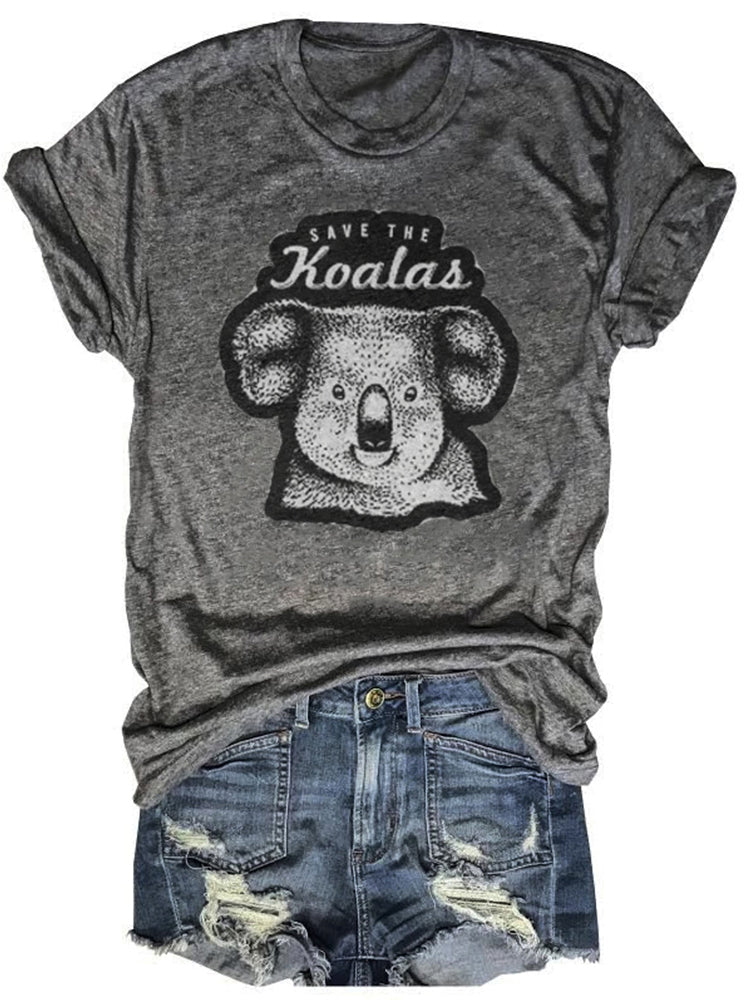 Save The Koalas Printed Gray Tee