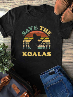 Save The Koalas Pray For Australia Black Tee