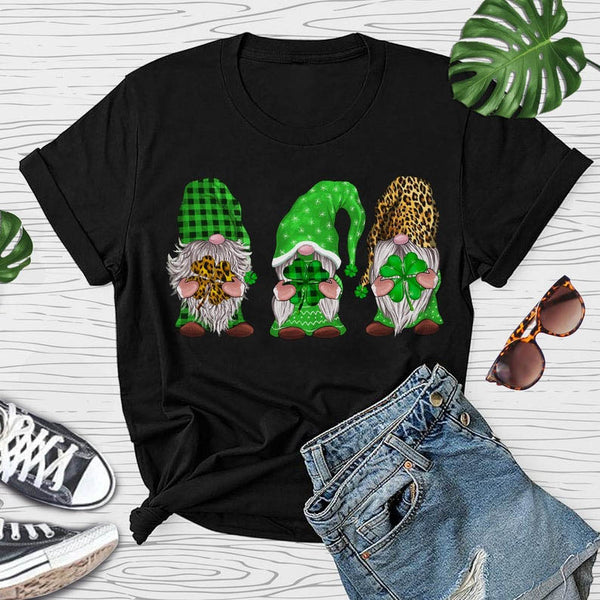 Green Plaid Leopard Gnomies Cute Tee