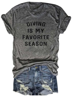 Diving Is My Favorite Season Gray Tee