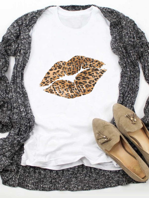 Leopard Lips Textures Printed White Tee