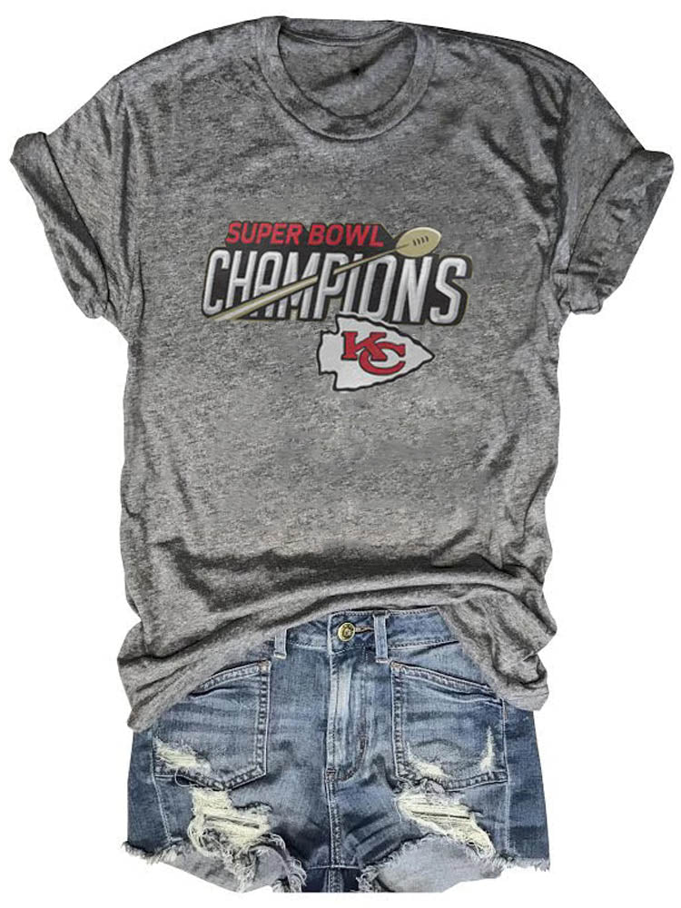 Super Bowl Champions Graphic Gray Tee