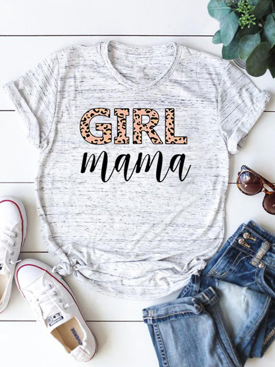 Girl Mama Leopard Printed Graphic Tee