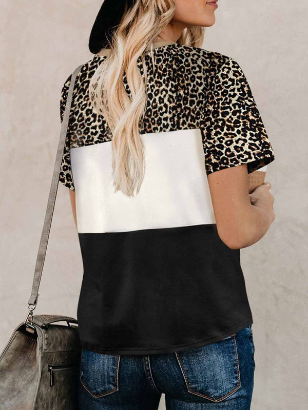 Leopard Splicing Colors Twist Front T-Shirt
