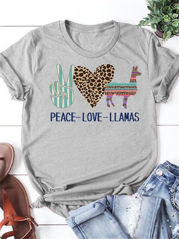 Peace Love Llamas Leopard Graphic Tee