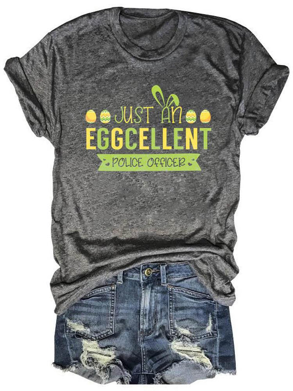 Just An Eggcellent Police Officer Gray Tee
