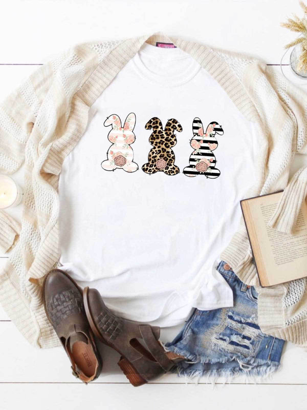 Leopard Striped Floral Bunnys Easter T-Shirt
