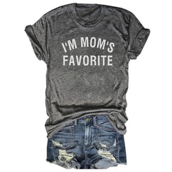 I'm Mom's Favorite Letters Printed Gray Tee