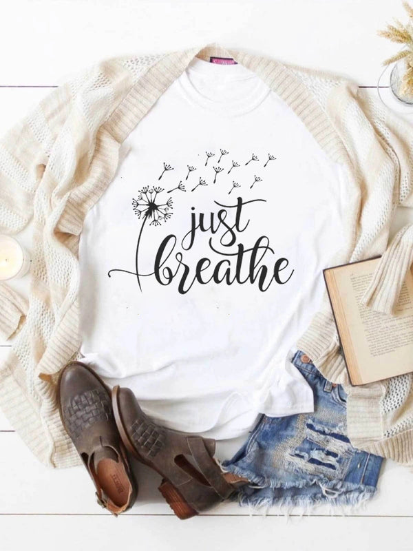 Just Breathe Free Like Dandelion White Tee