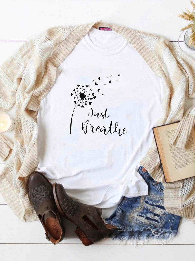 Just Breathe Free Like Hearted Dandelion T-Shirt