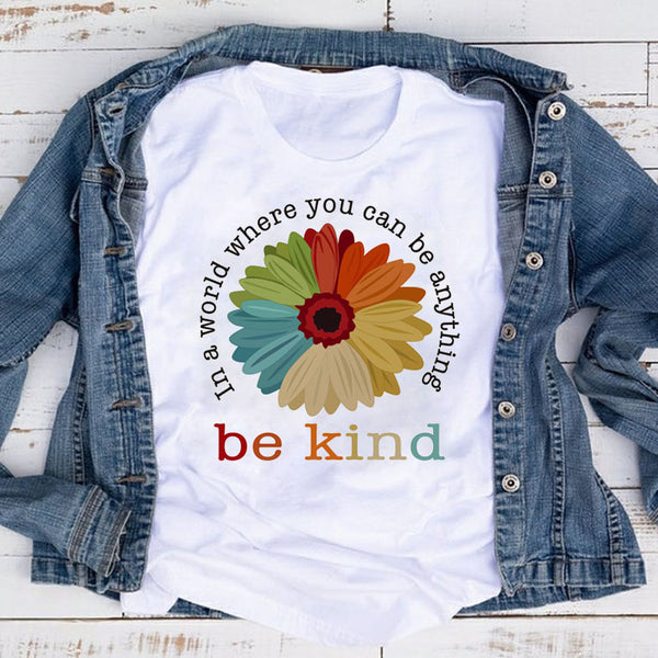 Be Kind Colorful Sunflower Tee