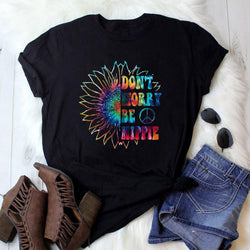 Don't Worry Be Hippie Sunflower Tee