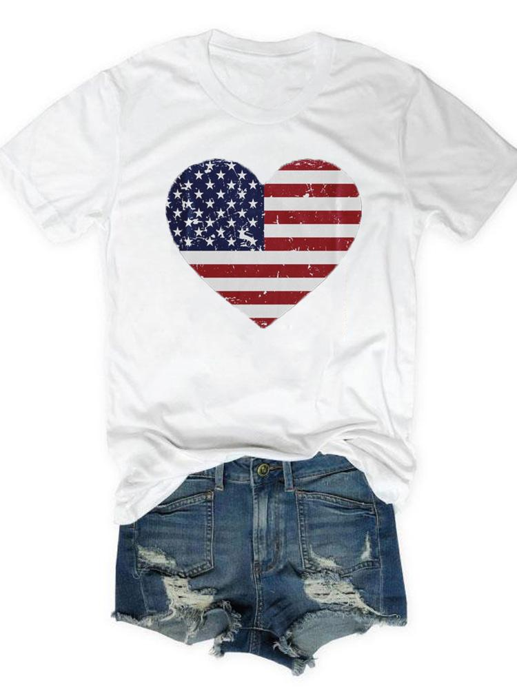 American Flag Heart Design Novelty Tee