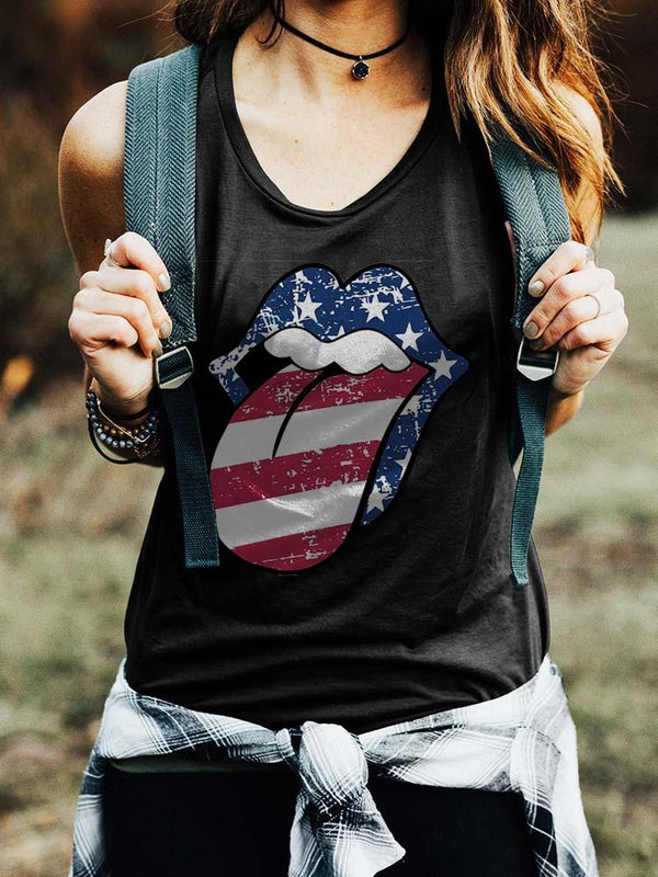 Distressed American Flag Lips Tank