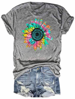 Colorful Tie Dyed Sunflower Tee
