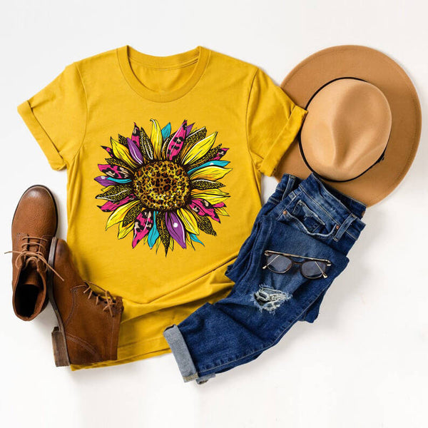 Leopard Colorful Sunflower Vintage Tee