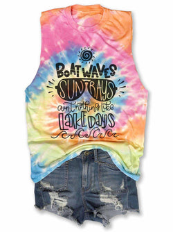 Boat Waves Sun Rays Ain't Nothing Like Lake Days Tie-Dye Tank