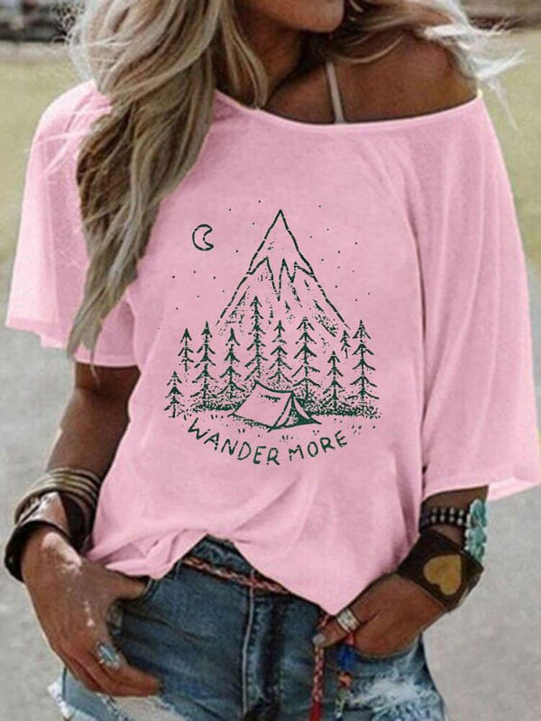 Wander More Camping In A Mountain Tee