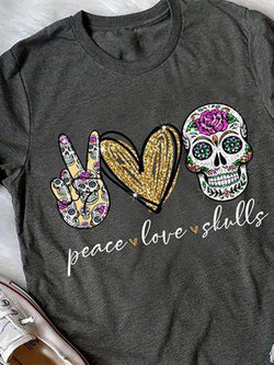 Peace Love Skulls Printed Tee