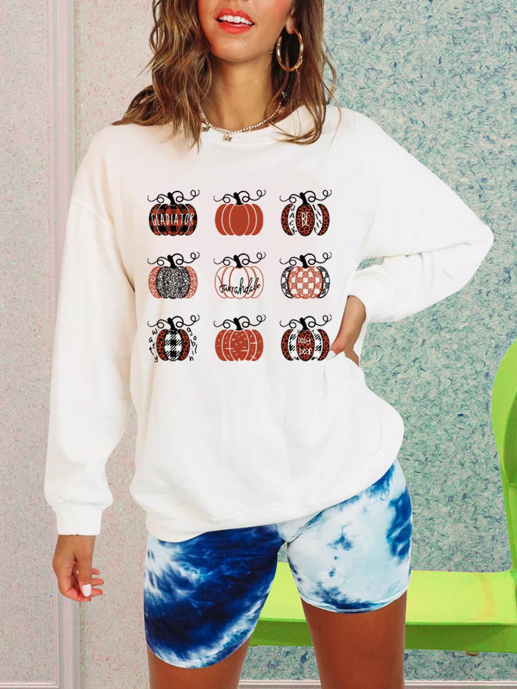 Novelty Pumpkins Printed Sweatshirt