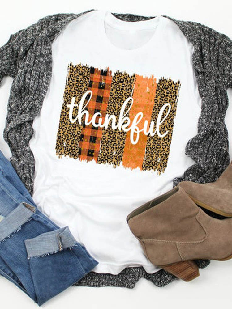 Thankful Leopard Plaids Brushstrokes Print Tee