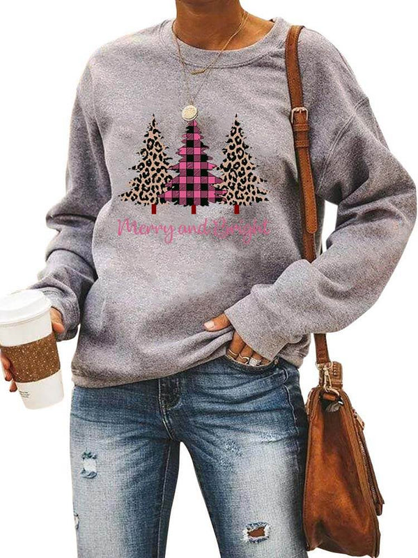 Merry And Bright Leopard Christmas Trees Sweatshirt
