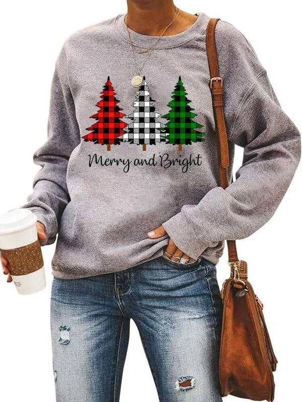 Merry And Bright Plaids Christmas Trees Sweatshirt