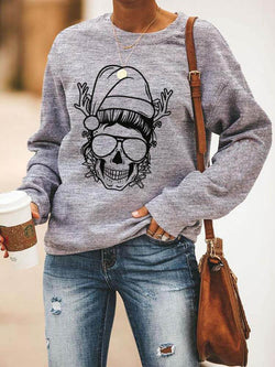 Simple Christmas Style Skeleton Reindeer Sweatshirt