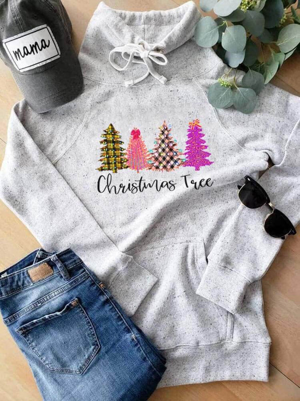 Colorful Christmas Tree Turtleneck Pocket Sweatshirt