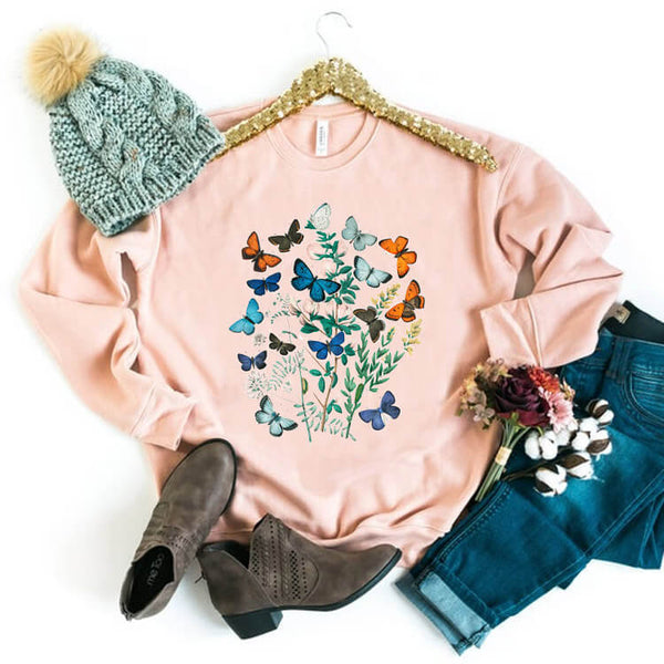 [PRE-SALE] Antique Butterflies Vintage Printed Sweatshirt
