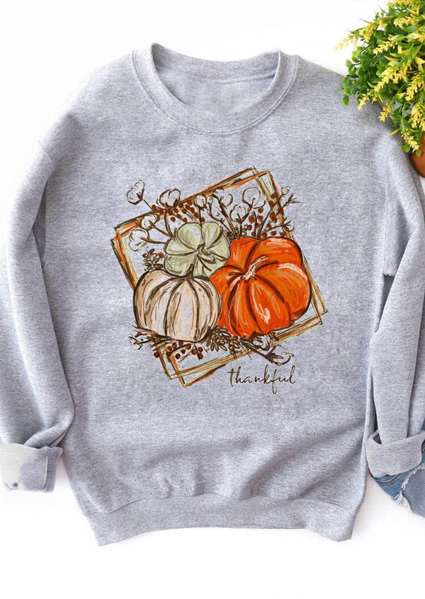 Pumpkin Thankful Antique Printed Sweatshirt