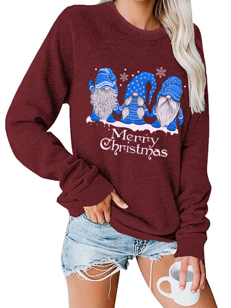 Blue Gnomies Merry Christmas Sweatshirt