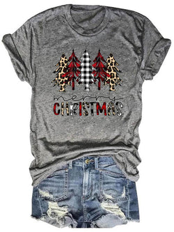 Buffalo Plaids Leopard Merry Christmas Trees Tee