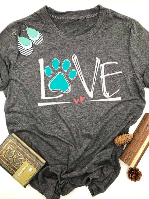 Dog Lover Paw Gray Tee