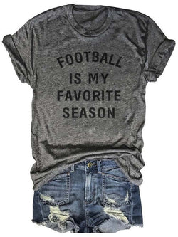 Football Is My Favorite Season Gray Tee