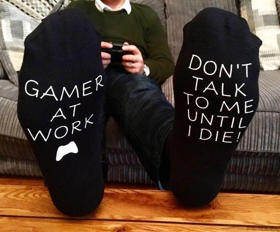 Gamer At Work Don't Talk To Me socks