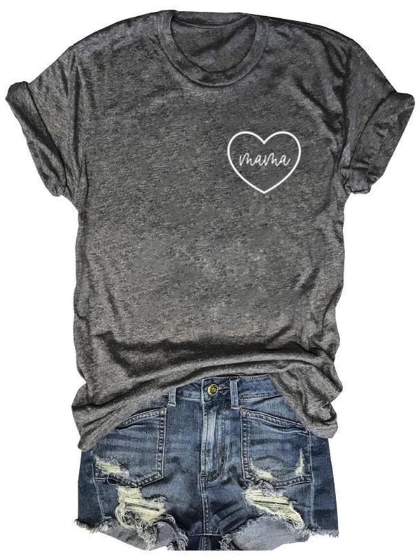 Mama Heart Printed Gray Tee