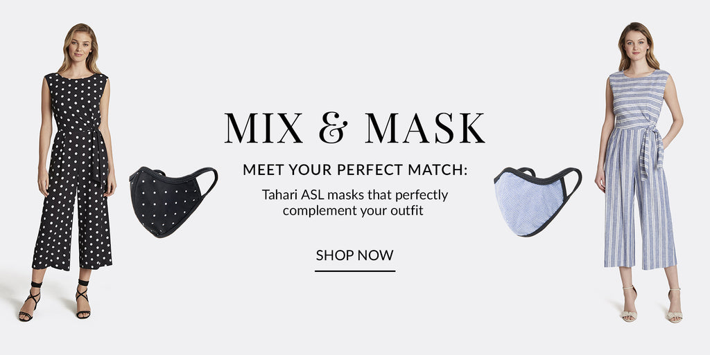 Mix and Mask Promo Banner with matching mask and outfit styles | Tahari ASL