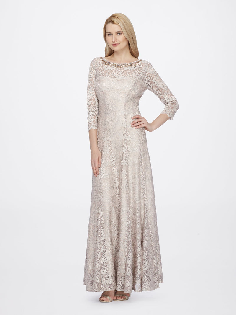 Front View of 3/4 Sleeve Lace A Line Women's Gown in Champagne Gold  | Tahari Asl CHAMPAGNE GOLD