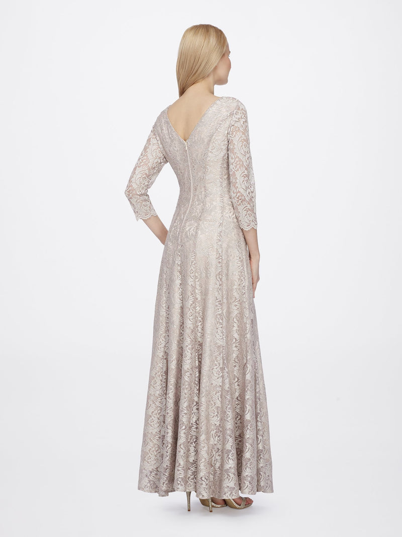 Back View of 3/4 Sleeve Lace A Line Women's Gown in Champagne Gold | Tahari Asl CHAMPAGNE GOLD