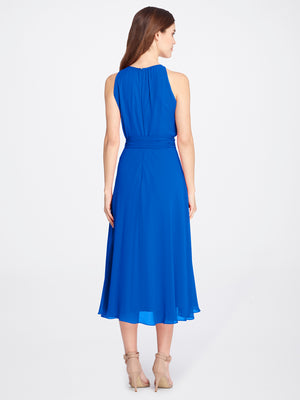 Back View of Women's Blue Designer Dress Sleeveless with Keyhole Neck | Tahari ASL Neon Royal