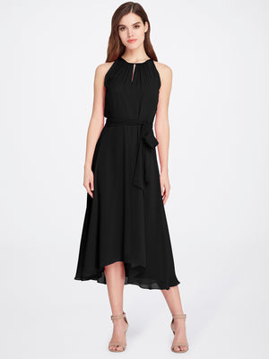 Front View of Women's Black Designer Dress Sleeveless with Keyhole Neck | Tahari ASL Black