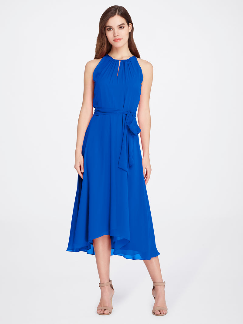 Front View of Women's Blue Designer Dress Sleeveless with Keyhole Neck | Tahari ASL Neon Royal