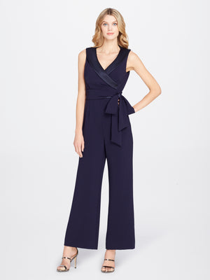 Front View of Women's Luxury Crepe Jumpsuit Romper with Side Bow by Tahari ASL