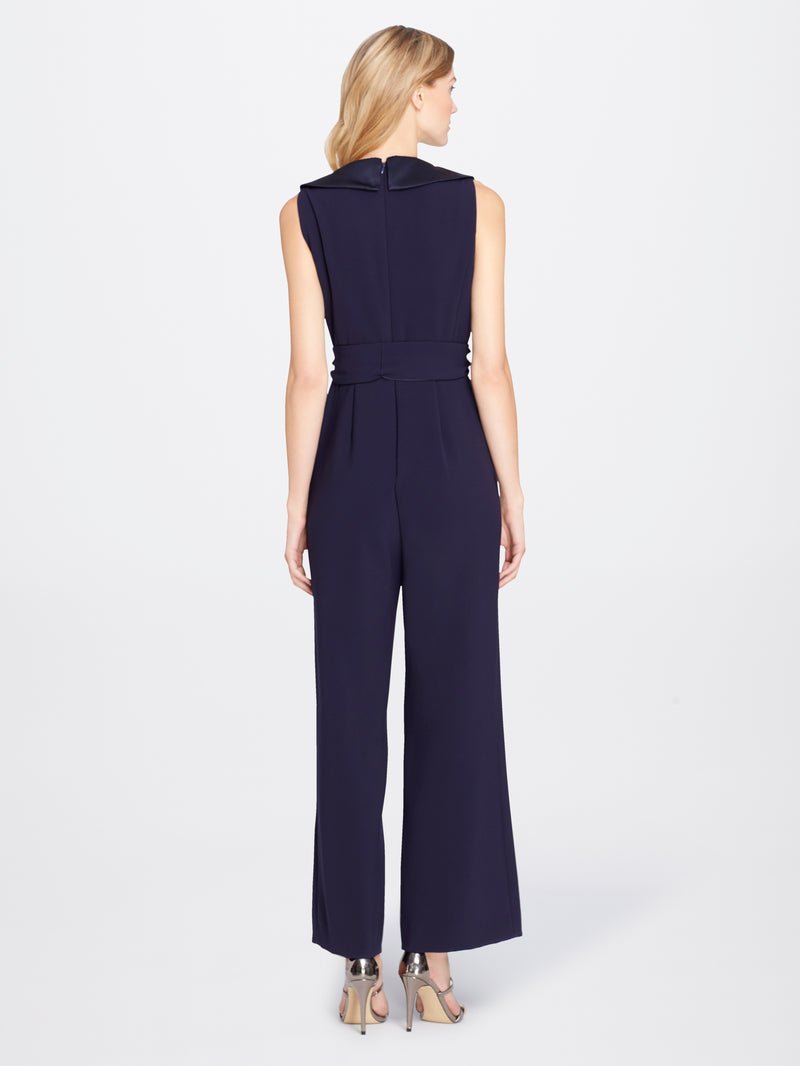Back View of Women's Luxury Crepe Jumpsuit Romper with Side Bow by Tahari ASL