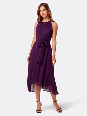 Front View of Women's Purple Designer Dress Sleeveless with Keyhole Neck | Tahari ASL Plum