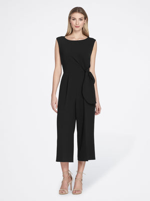 Front View of the Luxury Black Sleeveless Crepe Jumpsuit with Round Neck BLACK