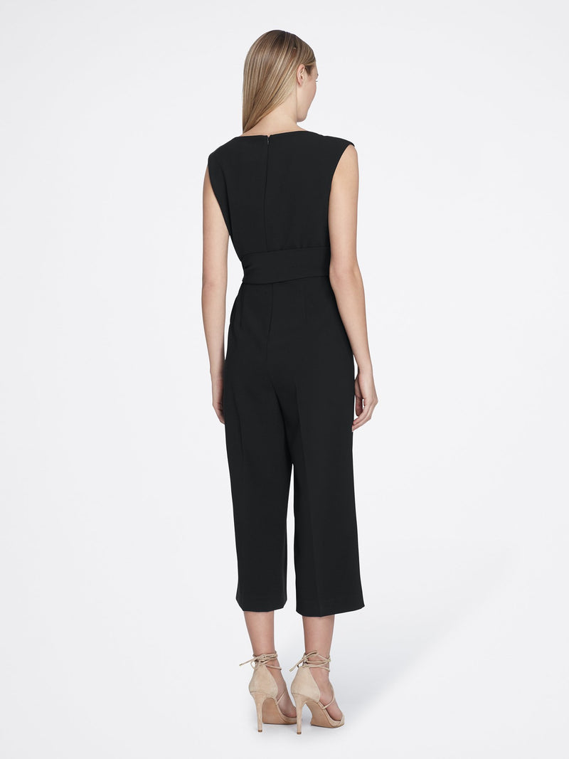 Back View of the Luxury Black Sleeveless Crepe Jumpsuit with Round Neck BLACK